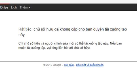 tải file từ google drive bị cấm