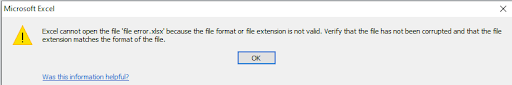lỗi excel cannot open the file because the file format or file extension is not valid