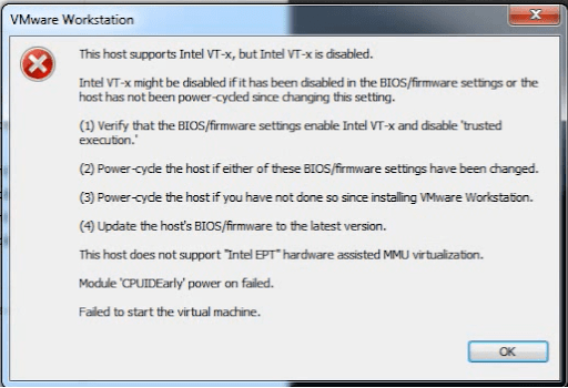 this host supports intel vt-x but intel vt-x is disabled