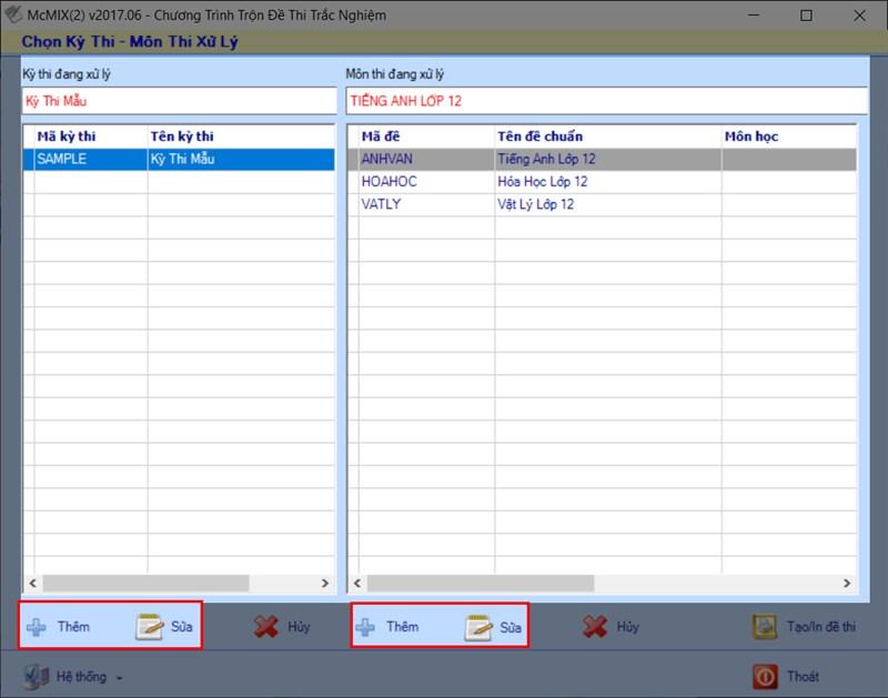 Giao diện chính của phần mềm MCMIX