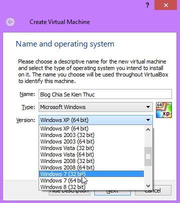 Hộp thoại Create Virtual machine