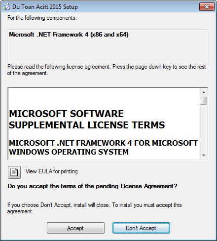 Hộp thoại xác nhận cài đặt thêm phần mềm
