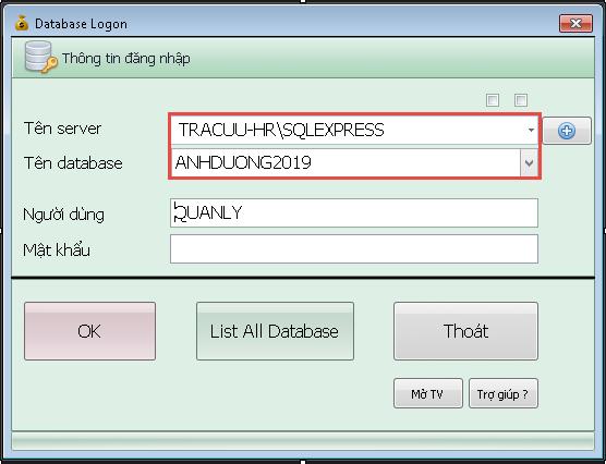Màn hình Database Logon của phần mềm Smart Pro