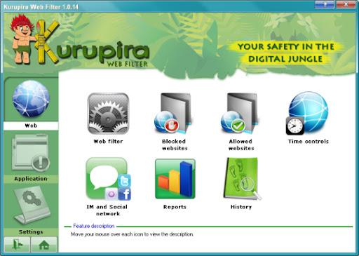 Phần mềm quản lý máy tính Kurupira Web Filter