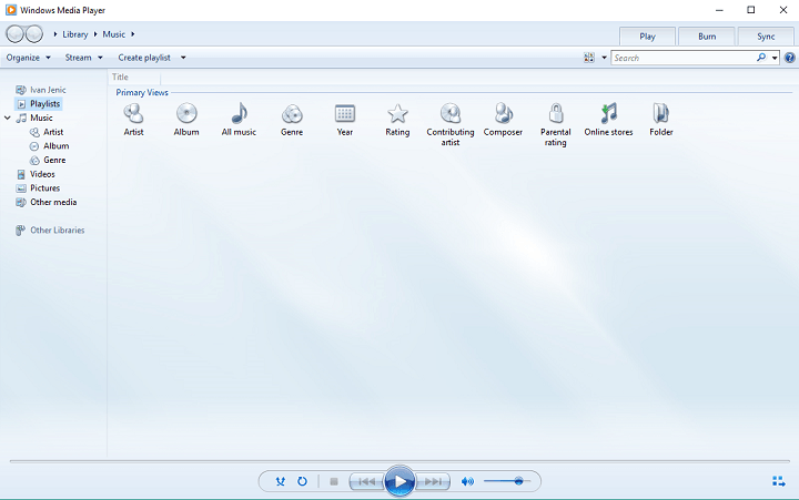 Ứng dụng windows media player